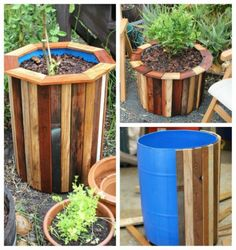 Wood slats can cover up an ugly plastic container. So I can make pretty self watering containers! maceta con tablas de madera