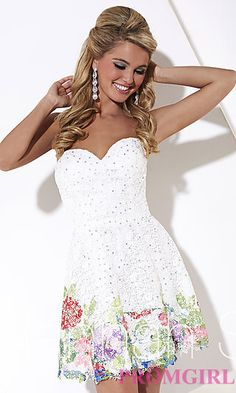 Short Strapless Sweetheart Print Dress by Hannah S at PromGirl.com