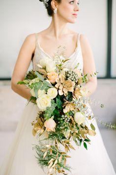 Gold succulent bridal bouquet | Sarah Pudlo & Co