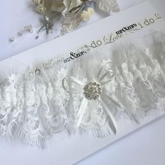 c3bb8408a Wedding garter eyelash lace. White with crystal brooch