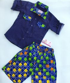 Ankara with Denim shorts set --------------------------------------------------------------checkout our products on www.bayabs.com(link in the bio)… Baby African Clothes, African Dresses For Kids, African Fashion Ankara, African Wear, Baby Girl Dress Patterns, Baby Dress, Afro, Ankara Styles For Kids, Kids Dress Wear