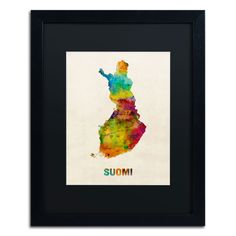'Finland Watercolor Map (Suomi)' by Michael Tompsett Framed Graphic Art