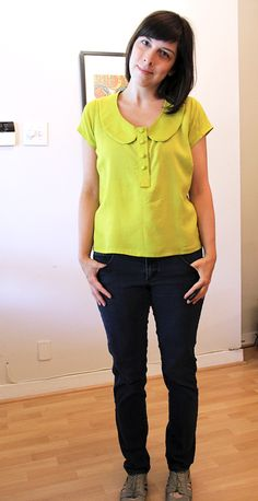 Handmade Banksia Top - I like the collar modification she's done.