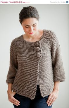 Etst : WINTER SALE 20 Brown Retro Cardigan by Afra by afra on Etsy, $60.00