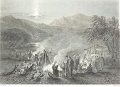 Night Scene in the Diggings (Gold Fields) - c. Engraving of a Drawing by John Skinner Prout Australian Painting, Gold Prospecting, Teaching Geography, Victorian Gold, Victoria Australia, Historical Pictures, Fields, Scene, In This Moment