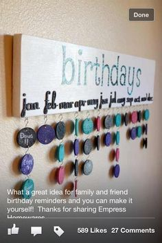 Important Dates Calendar - I want to make this for my parents for Christmas to help them remember family birthdays and anniversaries...it's hard to keep it all straight with in-laws, grandchildren, etc.