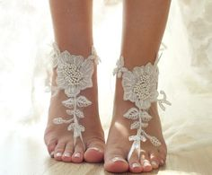 ivory Beach wedding barefoot sandals floral lace by ByVIVIENN