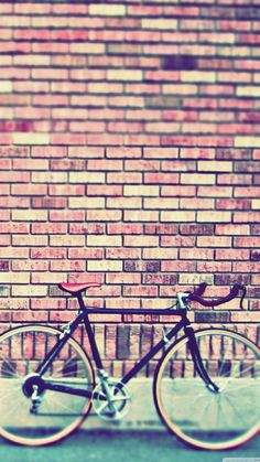 Vintage Bicycle Wallpaper. Bicycle, wall, pink colors, transport, bricks, iPhone, Android, HD Sazum 2017 background.