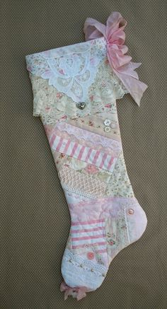 Pink Christmas Stocking Shabby Chic Quilted by paintedquilts