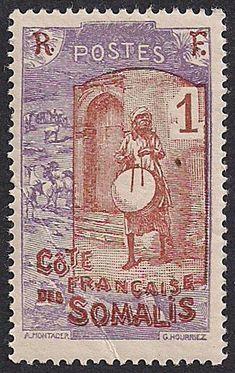 Estampilla Somalia francesa, 1915-1933 - Músico con su tambor