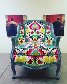 Custom chair by Des Moines based Creative REdesign Business Repinned. Reupholstered in Waverly santa maria dessert rose