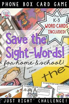 Looking for a fun and easy to individualize way to practice sight words with your kindergarten and primary students? Grab a smart phone box, choose from thematic papers and challenge your students to save their sight words from your dungeon! Video of game Kindergarten Lessons, Kindergarten Reading, Sight Word Games, Sight Words, Reading Resources, Reading Strategies, Classroom Resources, Thing 1, Common Core Reading