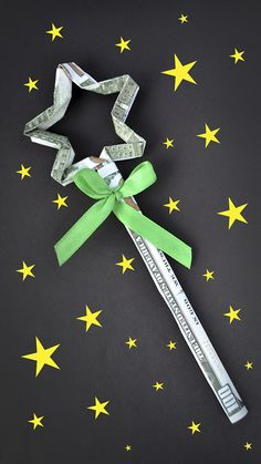 The money magic wand is an amazing origami out of dollar bills. The idea and design by NProkuda. We need 3 dollar bills, a satin ribbon, a ruler, a pencil, s. Origami Cards, Origami Gifts, Dollar Origami, Money Origami, Origami Tutorial, Diy Tutorial, Folding Money, Money Magic, Wands