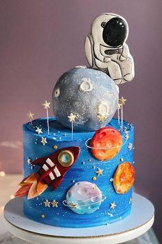 Fondant Cakes, Cupcake Cakes, Buttercream Cake, Cupcakes, Cake Decorating Tips, Cookie Decorating, Solar System Cake, Rocket Cake, Planet Cake