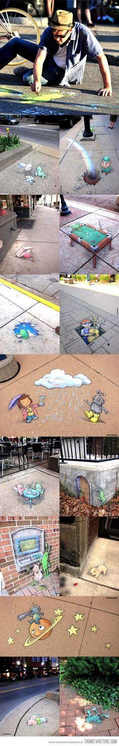 David Zinn, local artist, decorating sidewalks around town!