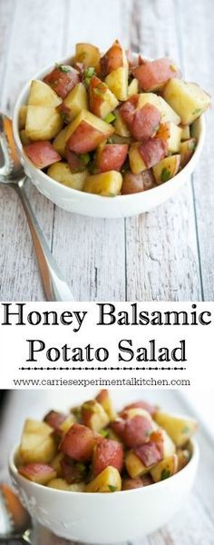 Honey Balsamic Potato Salad - a simple, no-mayo version that is slightly sweet & tangy. Perfect for picnics, barbecues & pot lucks.