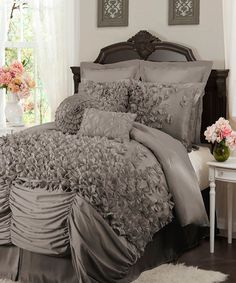 This Gray Lucia Comforter Set is perfect! #zulilyfinds