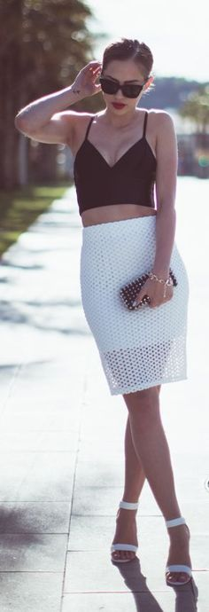 Chicy White  Eyelet Pencil High Waisted Midi Skirt by Kenzas