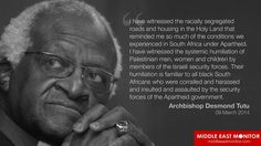 Desmond Tutu supports Palestine. Join the rest of the world in stopping the Ethic Cleansing of Paleatinians by Israel.