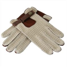 Men's Cotton and Tobacco Deerskin Driving Glove with Strap