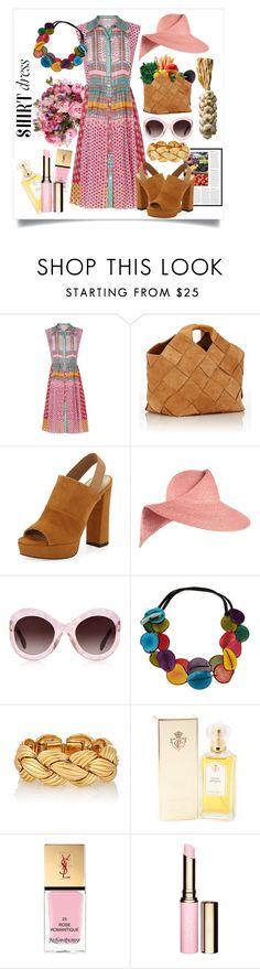 """Shirt Dress-3"" by capricat ❤ liked on Polyvore featuring Diane Von Furstenberg, Loewe, Stuart Weitzman, Eugenia Kim, Zanzan, Yves Saint Laurent, Clarins and shirtdress"