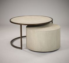 Occasional Furniture: Stock Esher Coffee Table / Drum Set - Chalk Shagreen