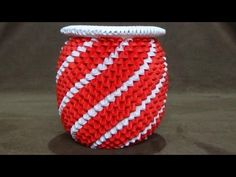 How To Make a 3D Origami Red & White Spiral Vase - YouTube