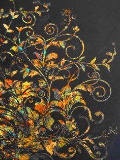 Gilding Flakes on Black - how spectacular! Card Making Inspiration, Making Ideas, Arabesque, Inka Gold, Paper Art, Paper Crafts, Gilding Wax, Feuille D'or, Cardboard Art