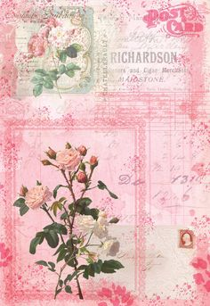 Journal Pages, Junk Journal, Vintage Paper, Vintage Pink, Scrapbook Pages, Scrapbooking, Decoupage Paper, Vintage Valentines, Paper Crafting