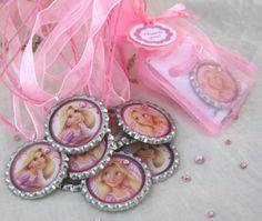 girls birthday party favors, rapunzel, tangled, set of 10, disney princess, pink, girlie