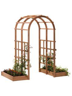 Cedar Arbor: Tunnel Arbor with Raised Beds   Gardeners.com
