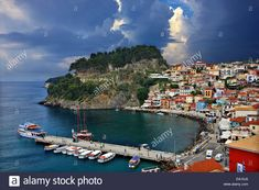 Stock Photo - Picturesque Parga town, with its Venetian castle on top, famous travel destination, Epirus, Greece Greece Travel, Time Travel, Venetian, Travel Destinations, Tourism, Places To Go, Scenery, Clouds, Stock Photos