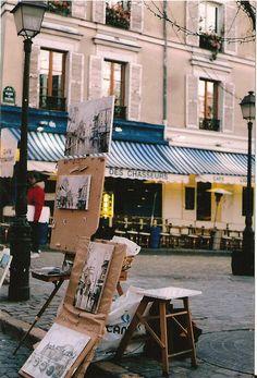 Montmartre Quarter, Place de Tertre, Paris XVIII. .  I want to go back, sit on the patio, drink a café au lait and just watch the people go by for hours....