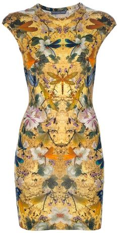 Alexander Mcqueen Yellow Dragonfly Dress - I'm a fan of the collage pattern, and the Deco/Nouveau influence in this party dress.