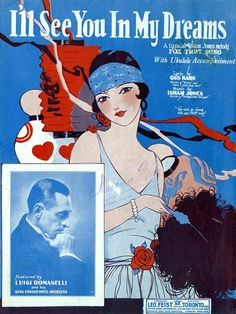 I'll See You In My Dreams vintage illustrated sheet music cover art, 1920s flapper fashion.
