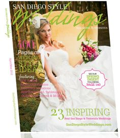 On the cover of San Diego style weddings magazine Spring Tops, San Diego Wedding, Wedding Coordinator, Hollywood Glamour, Headpiece, Wedding Styles, One Shoulder Wedding Dress, Wedding Day, Flower Girl Dresses
