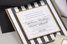 Stripe Black white and Gold Wedding Invitation