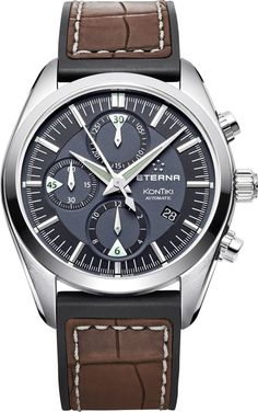 Eterna Watch KonTiki Chronograph #bezel-fixed #bracelet-strap-rubber…