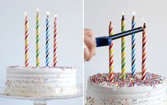 colored pencils as candles