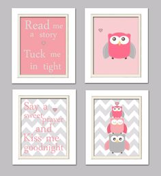 Nursery Quad, Pink and Grey Nursery, Owl Nursery, Set of 4 8X10, Pink, Grey, Read me a story. $37.00, via Etsy.