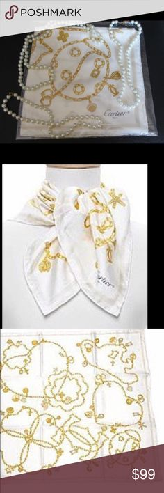 "🆕 Cartier Silk Scarf (Authentic) STUNNING! NWOB. Genuine Cartier scarf with Gold hearts/ lucky chains with watch, white/ golden, hand rolled hems, luxurious silk, authentic Cartier scarf for women. Italian silk, original Cartier Paris design, printed in Italy. May be worn as neck scarf or tied onto your favorite Cartier Purse. (Pearls are not included)  Color: White/ Gold Fabrics: 100% Twill Silk Size: 26"" x 26"" Origin: Made in Italy, Hand Rolled Borders Brand: Cartier Paris Authentic…"