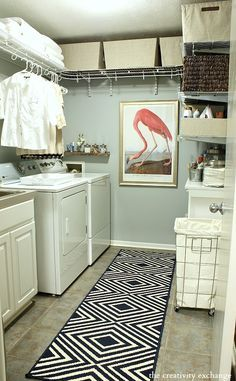 Laundry room revamp with wire shelving for extra shelving. The Creativity Exchange Creative tips for laundry room organizing that can help keep one of the busiest rooms in the home organized and functional. Laundry Room Shelves, Laundry Room Remodel, Laundry Closet, Laundry Room Organization, Laundry Room Design, Garage Laundry, Small Laundry, Laundry Rooms, Laundry Decor