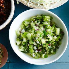 Green Pico de Gallo - 37 Jalapeño Recipes, Because Some Like It Hot - Bon Appétit Tomatillo Recipes, Cilantro Recipes, Jalapeno Recipes, Tomatillo Sauce, Ceviche, Margarita, Salsa Guacamole, Vegetarian Mexican Recipes, Tapas