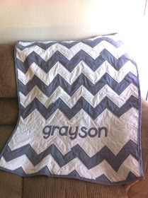 katymadeit: Baby Name Chevron (or Zig-Zag) Quilt - love the zig zag quilt for boys rooms - maybe last name instead of first so they can have in their own home someday.