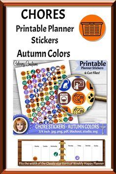 Chores Printable Planner Stickers Autumn Colors #printableplannerstickers #plannerstickers #printablestickers #planner #planning #plannercommunity #planneraddicts #happyplanner #mambi #erincondren