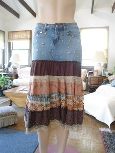 Layered Upcycled Blue Jean Denim Studded Skirt Very Hippie Boho Festival Styled Clothing Vegan Skirt Recycled by LandofBridget
