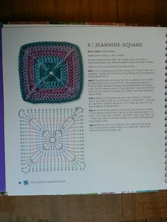 Jeannine Square - from The Granny Square Book by Margaret Hubert #crochetmoodblanket2014 granny square crochet pattern