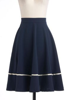 TO SEW: Streak Clearly Skirt - Blue, White, Casual, Nautical, A-line, Long, Work, Fit & Flare, Top Rated