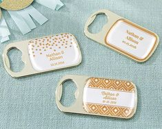 Featuring a glossy copper foil sticker available in six different designs, you can add personalization to make these gold bottle opener favors even more special.