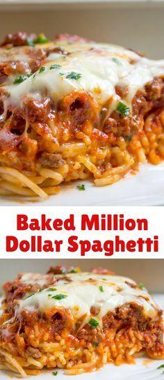 Meat Recipes, Gourmet Recipes, Crockpot Recipes, Healthy Recipes, Casserole Recipes, Healthy Foods, Spaghetti Dinner, Baked Spaghetti, Kitchens